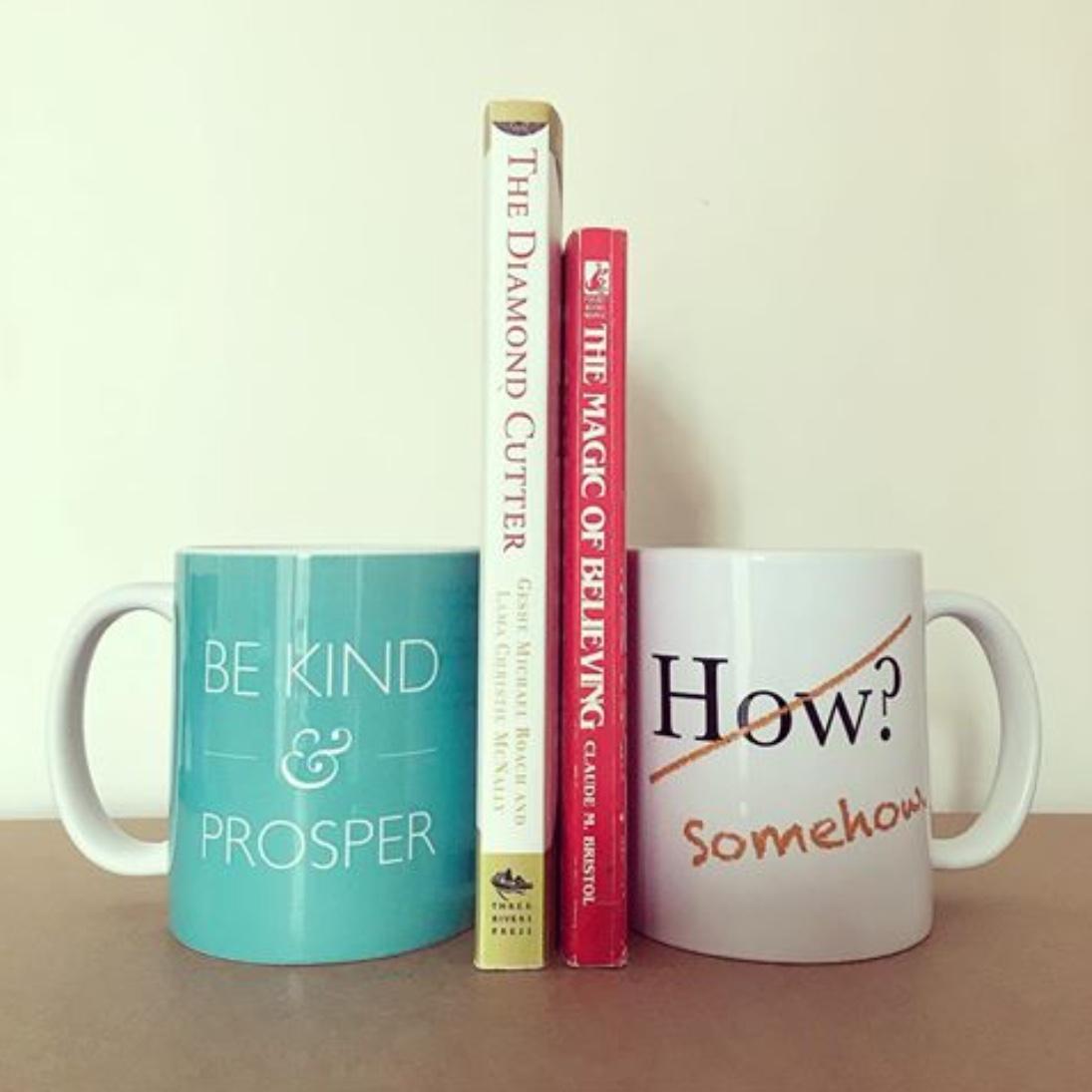 book ends mugs magic of believing diamond cutter