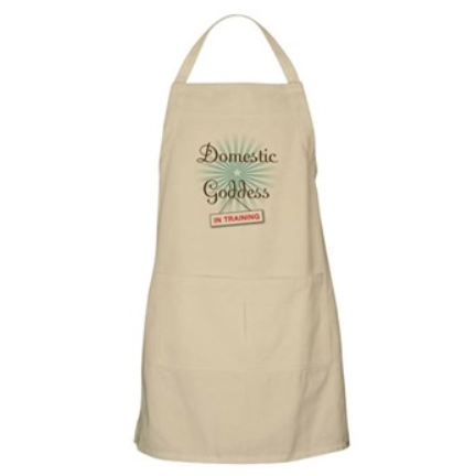 domestic goddess in training cotton apron with pockets